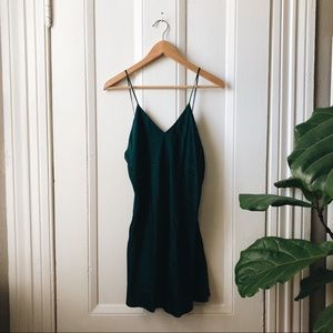 Vintage Victoria's Secret forest green silk slip
